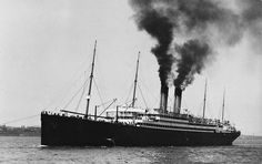 Twin stack ocean passenger steamship