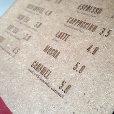 Bear Coast Coffee Menu - Laser etched on MDF & dip-dyed in red paint! Love it!