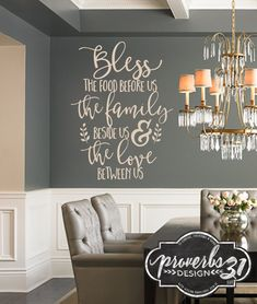 Bless the Food   Vinyl Wall Decal by Proverbs31Design on Etsy This warm, elegant decal is the perfect touch to any kitchen or dinning room, especially during the Thanksgiving & Christmas season when friends and family gather in our homes. We have so much to be thankful for! #proverbs31design #thankful #blessed #blessthefood #foodfamilylove #kitchendecal #walldecal #familywalldecal #foodwalldecal #blessedwalldecor  #proverbs