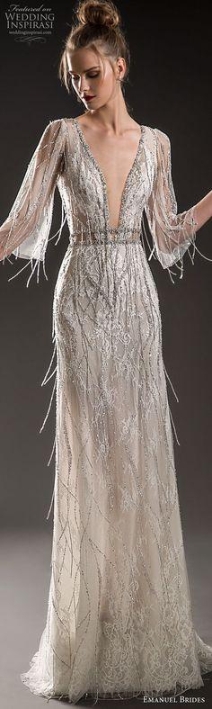 emanuel brides 2018 bridal three quarter sleeves deep plunging v neck full jeweled embellishment fringe bodice elegant glamorous sheath wedding dress open v back sweep train (13) lv