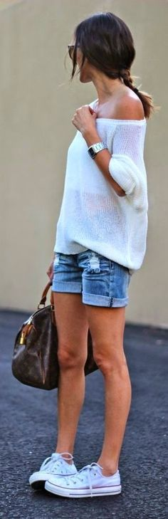 Casual look | Off the shoulder white sweater, denim shorts and white Converse