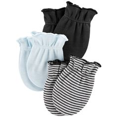Keep your baby warm and safe with these Boy's Bear Mittens from carter's. Made from cotton, these super soft mittens help protect your baby from scratching. You get three pairs of mittens in this pack, in light blue, grey, and stripes. Baby Mittens, Baby Socks, Carters Baby Boys, Baby Kids, Baby Boy Accessories, Clothing Accessories, Baby Warmer, Baby Boy Fashion, Future Baby