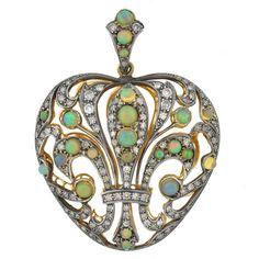 Pre-owned Edwardian Opal Diamond Fleur de Lys Pendant ($2,895) ❤ liked on Polyvore featuring jewelry, pendants, necklaces, necklace enhancers, drusy pendant, long pendant, diamond fleur de lis pendant, filigree pendant and heart shaped diamond pendant
