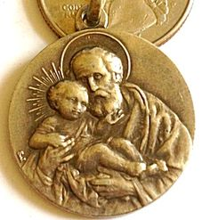 Vintage 800 Silver Religious Medal Saint Joseph Jesus Christ (Image1)
