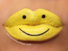 Crazy Lipstick Art | Yellow Smiley Face Lipstick Art!