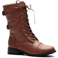 CiCiHot Whiskey Cadet Kelly Faux Leather Lace Up Combat Boots ($29) ❤ liked on Polyvore featuring shoes, boots, ankle booties, zapatos, military boots, lace up booties, laced booties, military lace up boots and lacing combat boots