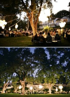 Backyard wedding Love lights wrapped around trees