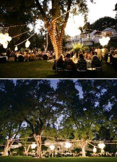 Backyard wedding Love lights wrapped around trees