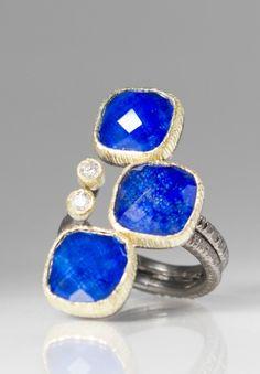 Maria Frantzi 18K, Silver, Diamond, Lapis Doublet Ring