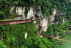 Restaurant near Sanyou Cave above the Chang Jiang river, Hubei, China. This is one of the amazing place to visit in China. #China #Tour #Vacation