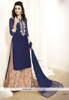 Cream And Blue Peppy Palazzo Salwar Suit