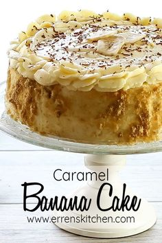 This easy homemade recipe for Caramel Banana Cake is out of this world! The flavors from the Banana, Caramel, Whipped cream and Chocolate together is simply irresistible, it makes the best dessert or the perfect cake for any occasion. #ErrensKitchen #cake #dessertsfoodrecipes via @Erren's Kitchen