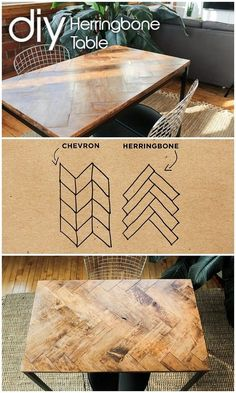 66 Easy DIY Tables That You Can Build on a Budget 40 Easy DIY Tables That You Can Build on a Budget – how to make a herringbone table. Looks easy enough! Diy Home Decor For Apartments, Diy Home Decor On A Budget, Affordable Home Decor, Decorating On A Budget, Wood Projects For Beginners, Diy Wood Projects, Reclaimed Wood Furniture, Diy Furniture, Building Furniture