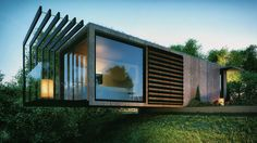 due to the site's relatively small size, the studio maximizes available space by cantilevering above a steep cliff at the edge of the plot. The post patrick bradley designs cantilevered shipping conta