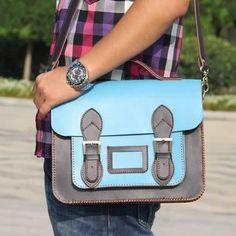 Image of Handmade Genuine Leather Satchel / Messenger Bag / Backpack - Light Blue with Ink Blue(L1)