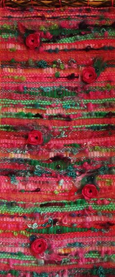 "Long wall hanging suspension in weaving: "" Poppies on the wall"" decoration for…"