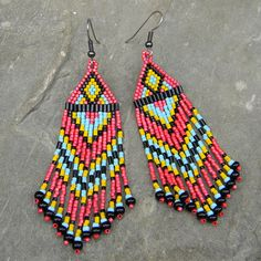 Long Native American  Seed Bead Earrings in maroon by Anabel27shop,