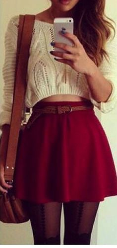 love the cropped sweater with the high waist skirt!