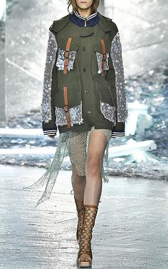 Olive Canvas Jacket with Sequin Mesh by Rodarte Now Available on Moda Operandi