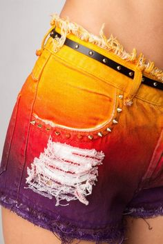 Shorts Jeans Color Low Destroyed