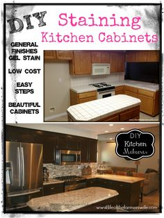{DIY Staining Kitchen Cabinets} A Complete Kitchen Makeover Staining  Cabinets From Oak To A Dark Rich Espresso Color. Step By Step Instructions.