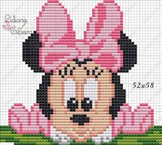 Disney's Little Mermaid cross Cross Stitch For Kids, Cross Stitch Baby, Cross Stitch Charts, Cross Stitch Designs, Cross Stitch Patterns, Mickey Mouse E Amigos, Mickey Mouse And Friends, Minnie Mouse, Mickey Mouse Characters