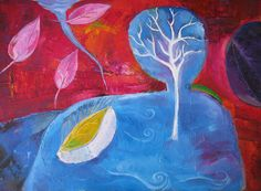 "Title: ""Water world"" 2012,  oil on canvas, original art,  size 50/70 cm, 20""/ 28"",  no frame"