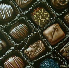 """Chocolates"" - Original oi painting, © 2015, Margaret Horvat.  See more work for sale by Margaret Horvat at www.horvatart.com."