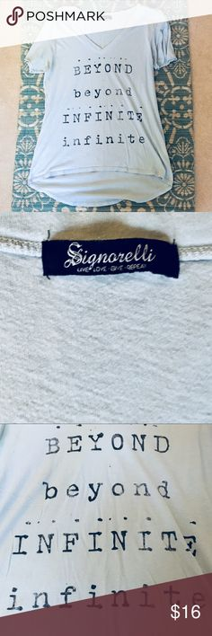 """Light blue graphic t-shirt Cute t-shirt is a pretty pale light blue, with """"Beyond Infinite"""" graphic. T-shirt has rolled short sleeves for a worn in vibe. The high/low of this shirt makes it perfect to pair with leggings (covers the bum). Size Large, but works best for size Medium (or small for a really oversized fit). 🚨no trades🚨 Bundle TWO or more items and get 15% off with purchase! 🌻 Nordstrom Tops Tees - Short Sleeve"""