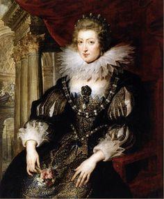 'Portrait of Anne of Austria' RUBENS, Pieter Pauwel.(1621-25) '일그러진 진주'하는 그 의미처럼 바로크(Baroque)시대의 의상분위기는 기묘하고 이상한 이미지를 주면서 생동감을 나타낸다. 르네상스 양식이 조화를 중요시하며 고전적인 데 비해, 바로크 양식은 약동적이고 화려한 것이 특징이다.바로크 양식은 초기에 비교적 단순하며 엄격함과 중후함의 특징을 나타낸 반면, 전성기에 이르러서는 풍요롭과 사치스러운 장식성을 위주로 하였고,위엄있고 장중한 호화로움을 보여주었다. 르네상스 시대에는 의상에 복석과 자수를 중점적으로 사용한 데 비해, 바로크 시대에는 다채로운 색상을 사용하였으며, 직선보다는 완만한 곡선을 더 많이 사용하였다.또 태슬(tassel)과 루프(loop),자수(embroidery),레이스 등으로 화려하게 장식함으로써 바로크의 독특한 취향을 나타냈다.