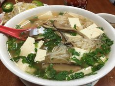 Super-tasty, plant-based pho (Vietnamese noodle soup) from Vinh Loi Tofu in Reseda. Try some if you're in the the L.A. area some time, and know that superman owner Kevin Tran is happy to customize the soup or anything else on the menu to meet your wishes.