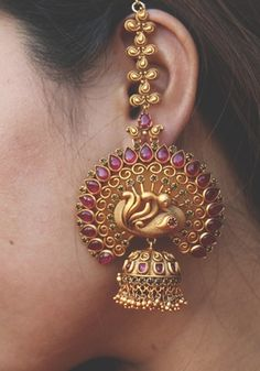 Ruby Red Temple Work Earrings - Glitterati by Alankriti - 2877544 Gold Jhumka Earrings, Indian Jewelry Earrings, Jewelry Design Earrings, Gold Earrings Designs, Ear Jewelry, Ruby Earrings, India Jewelry, Antique Earrings, Bridal Jewelry