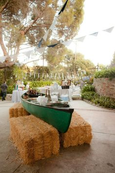 rustic country wedding canoe bar http://www.deerpearlflowers.com/rustic-canoe-wedding-ideas/