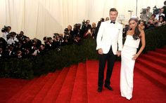 Victoria Beckham with David Beckham on Red Carpet