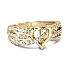 Jeulia Gold-Tone Heart Design Round Cut Created White Sapphire Women's Wedding Band
