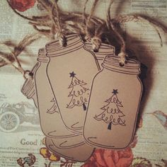 Christmas Mason Jar Tags Kraft Brown Country Gift Tags Mason Jar Christmas Gift Tags Mason Jar Gift Tag Twine Gift Tags Twine Mason Jar Tags