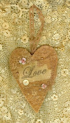 Vintage Lace Cotton Batting Embellished Heart by sweetinspirations