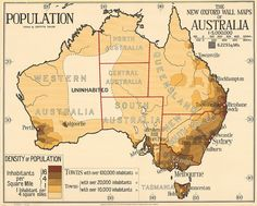 Population of Australia map You might have noticed the population map above is missing Darwin, and it's not a mistake. At the time this map was produced, Darwin's population was about people and it wasn't granted city status until Australia Day in Australia Weather, Australia Map, Brisbane Australia, Western Australia, Map Of Continents, Map Of New Zealand, Pictorial Maps, Wall Maps, 1920s
