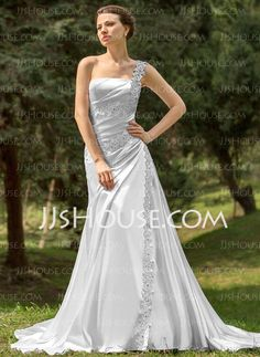 Wedding Dresses - $186.99 - A-Line/Princess One-Shoulder Cathedral Train Charmeuse Wedding Dress With Ruffle Lace Beadwork (002000109) http://jjshouse.com/A-Line-Princess-One-Shoulder-Cathedral-Train-Charmeuse-Wedding-Dress-With-Ruffle-Lace-Beadwork-002000109-g109