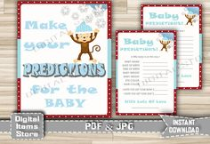 Winter Baby Shower Predictions Monkey on Snow - Prediction Card Snow Monkey - Printable Baby Shower Snow Monkey - Instant Download - ms1 by DigitalitemsShop on Etsy
