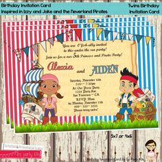 Frozen and lego movie twins birthday invitation card digital file izzy and jake and the neverland pirates twins birthday invitation digital file stopboris Image collections