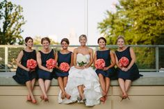 Navy and Coral Wedding Inspiration   Brideside....use coral chargers under white plates on blue table clothes?!