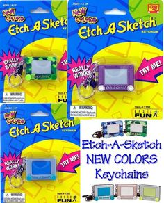 Etch A Sketch Keychain Colors Camouflage Jelly Glitter Keyring Basic Fun Retired - It would be an amazing addition to my miniature collection for my dollies! #etchasketch #miniature #toy