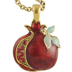 This Gold Tone Pomegranate Necklace Has A Gorgeous Hand Painted Enamel Finish. Red Jewels Represent The Delectable Pomegranate Seeds. The Pomegranate Pendant Measures Approximately Pomegranate Necklace, Pomegranate Art, Red Jewel, Jewish Jewelry, Jewish Gifts, Pewter Metal, Best Jewelry Stores, Very Lovely, Hamsa