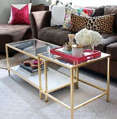 Cool way to update ikea furniture. Might use this: gold leafing on top of gold spray paint - ikea coffee table to match the sofa table I want for living rm - A Little Layer of Gold. (Gold Leaf that is) - the Hunted Interior Coffee Table Hacks, Ikea Coffee Table, Ikea Table, Coffee Table Styling, Cool Coffee Tables, Decorating Coffee Tables, Diy Table, Tray Styling, Table Tray