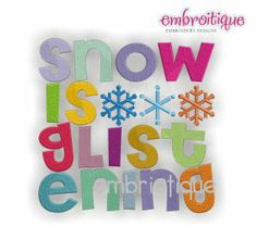 Embroidery Designs (All) - Snow is Glistening Word Block Embroidery Design on sale now at Embroitique!
