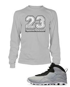 b4e9977e25a New 23 Graphic T Shirt to Match Retro Air Jordan 10 Light Smoke Shoe