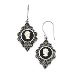 Sterling Silver Marcasite Cameo With Simulated Onyx and Mother of Pearl Shepherd Hook Earrings * Visit the image link more details. (This is an affiliate link) #Earrings