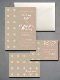 Green Polka Dot Wedding Invitations Kraft by HeartwoodPaperie