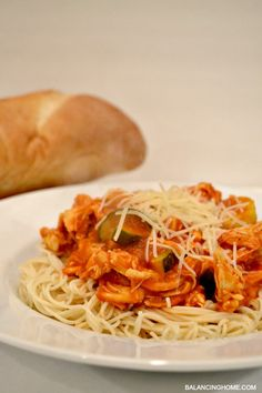 Simple delicious family meal- chicken spaghetti. Plus an AWESOME tool for meal planning.